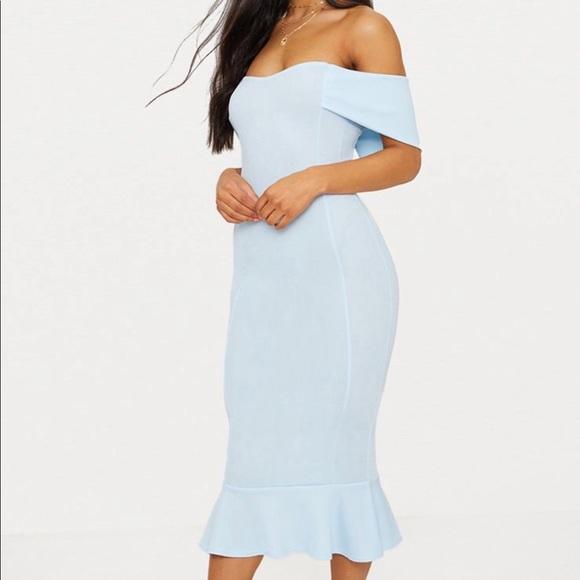 Dresses & Skirts - Blue Bardot frill hem midi dress